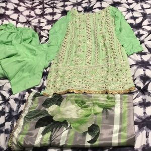 Other - Mint colored salwar suit with flower print dupatta